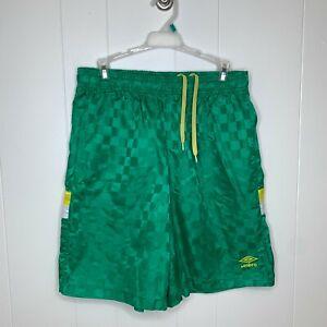 Vintage Umbro Checkered Soccer Shorts Green Yellow Premier Logo Mens Size Large
