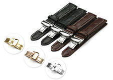 14-24 mm Genuine Calf Leather Watch Band Croco Strap Steel Deployant Clasp Black