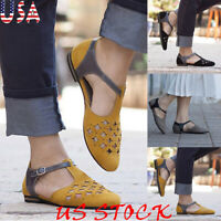 Fashion Women Hollow-Out Low Heel Sandals Faux Suede Flat Pointed Toe Shoes NEW