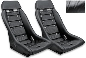RETRO CLASSIC R1 VINTAGE RACING BUCKET SEATS (Perforated W/ Grommets) PAIR
