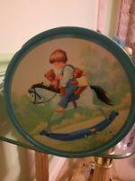 "Rocking Horse Cookie Tin Danish Butter Cookies Children Teddy Bears 10½"" A32"