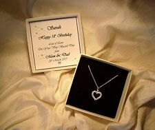 18th Birthday Gift jewellery sterling silver heart CZ necklace personalized box
