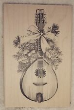 Inkadinkado rubber stamp Christmas Mandolin Music Holly Instrument Bow Festive