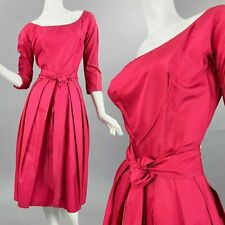 S Vintage 1950s Fuchsia Pink Silky Cocktail Dress Sash Wiggle Pin Up 50s Study