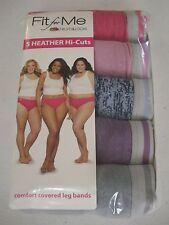 Fit for Me Fruit of the Loom Women's 5 Pack Heather Hi-Cuts Size 9 Briefs NEW