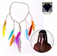 MACKRI Bohemian Festival Feather Headband Hippie Headdress Accessories MULTCOLOR
