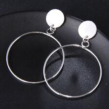 Big Silver Hoop Earrings Round Large Long Party Drop Dangle Geometric Minimalist