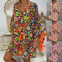 Womens Long Sleeve Summer Beach Boho Floral Casual Loose Mini Shirt Dress Kaftan