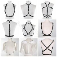 Women's PU Leather Chest Harness Waist Belt Cage Bra Cupless Goth Party Clubwear