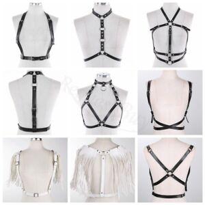Women's PU Leather Chest Harness Waist Belt Cage Bra Cupless Goth Party Clubwear