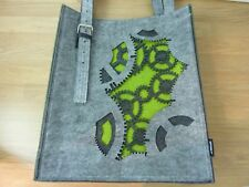 2087 Felt Tote Bag Shopper Steampunk Grey Green.  Cogs Cutouts. Shoulder Straps.