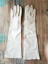 Vintage Cream White Kid Leather Long Gloves Evening Opera Germany Size 6 Xs