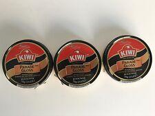 KIWI Parade Gloss Premium Leather Polish Black 2.5oz LARGE Can THREE PACK (3)
