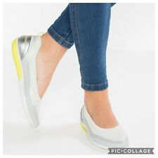 ECCO Sense Light Ballerina Flat Sneaker Slip On White Silver Sz 41 = 10/10.5