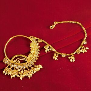 Indian Bollywood Gold plated Nath Traditional Women Nose Rings Wedding Jewelry