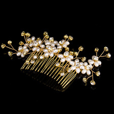 Wedding Party Bridal Gold Plated Crystal Pearl Flower Hair Clip Comb Tiara Acces