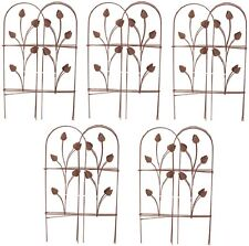 "(5) Panacea 89363 32"" x 8' ft Cameo Brown Folding Garden Fence Fencing w Leaves"