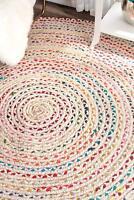 "4x4"" Ft White Braided Round Chindi Area Rag Rug Hardwood Floors Mats Woven Rugs"