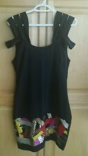 Yoana Baraschi Black Strapy Shoulders Colourful Sequins Party Cocktai Dress Sz:6