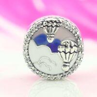 925 Sterling Silver Hot Air Balloon Trip Charm Enamel Clear CZ Bead Fit Bracelet