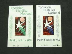 NobleSpirit } Lovely Madrid, SPAIN 1958 Brussels Exhibition MH Souvenir Sheets!