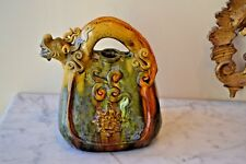 ANTIQUE CHINESE SANCAI POTTERY CERAMIC EVER PITCHER TEAPOT DRAGON HANDLE