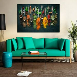 Herbs and Spices Abstract Photo Print, Food Pictures Home Canvas Painting Print