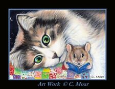 Tabby Calico Cat Mouse Mice Bedtime Story ACEO Limited Edition mini Art Print