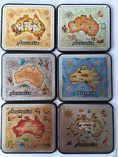6pc Australia Souvenir Full Metal Cover Coaster Set Map OZ Australian Gift
