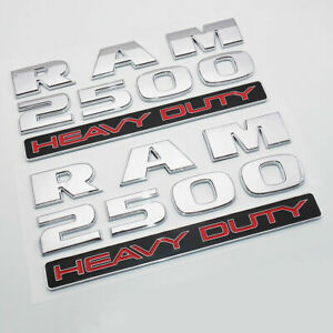 "2x 2013-2018 Chrome ""Dodge Ram 2500 Heavy Duty"" Emblem Badge Nameplate Mopar"