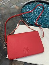 Tory Burch Thea Pebbled Leather Thea Clutch in Red, New!