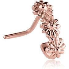 Nose Stud Ring Flower Nose Hugger 20G Rose Gold Pvd Surgical Steel L Bend