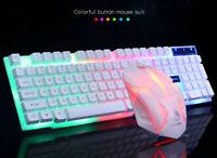 Bunte LED Illuminated Backlit USB Wired PC Rainbow Gaming Tastatur & Maus Set DE