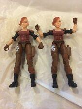 "TWO! Lanard 3.75"" Custom RARE FEMALE FIGURES GI JOE COMPATIBLE Soldier Mercenary"