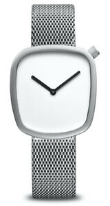 Bering Time - Pebble Design Ladies Silver-Tone Watch w/ White Dial 34mm