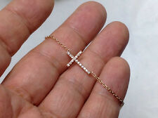 0.22ct Genuine Natural Diamond Cross Necklace In Solid 14K Rose Gold
