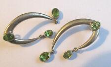 Vintage Silver & Peridot Earrings for Pierced Ears Stunning Statement Gift Idea
