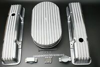 "58-86 SBC Chevy 350 Aluminum Tall Retro Finned Valve Covers and 15""Air cleaner"
