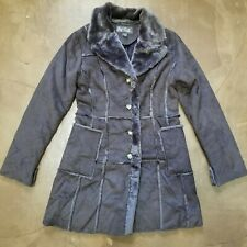 Women's Long Overcoat Brown Faux Fur Size Small