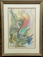 Excellent Mid Century Pastel Abstract Painting, Manner of Early Jackson Pollock