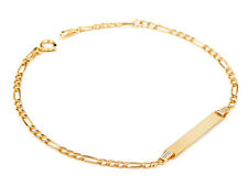 14Carat YELLOW GOLD IDENTITY BRACELET 6.3in FIGARO LINK FOR BABY CHILD ENGRAVING