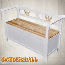 Storage Bench Seat Cabinet White Blanket Box Furniture Wooden NEW