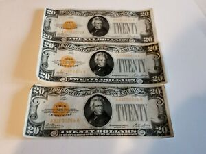 Lot Of 3 1928 20 Gold Certificates. Better Than Average condition! No Reserve!!!