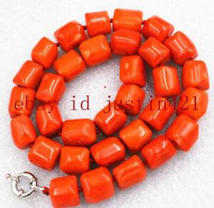 "Amazing Orange Natural Cylinder Coral Gemstone Beads Necklace 18 """
