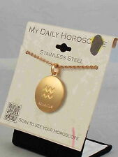 Rose Goldtone Stainless Aquarius MY DAILY HOROSCOPE Scan Pendant Necklace $50