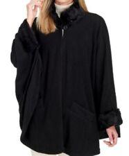 FASHION ESSENTIALS Faux Fur Trim Cape Coat Black One Size $98