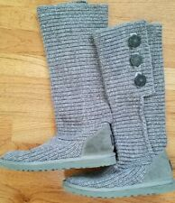 UGG Australia Women's Cardy Gray Knit Button Tall Boots Size 8 S/N 5819