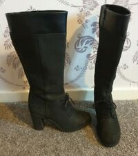 Timberland Womens Glancy Knee High Suede Black Leather Boots Zip & Lace UK 5 38.