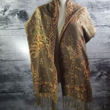 Paisley Shawl Brown with Metallic Silver Thread Scarf Wrap Blanket