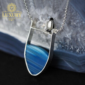 Natural Agate Handmade 925 Sterling Silver Lovely Penguin Pendant with Necklace